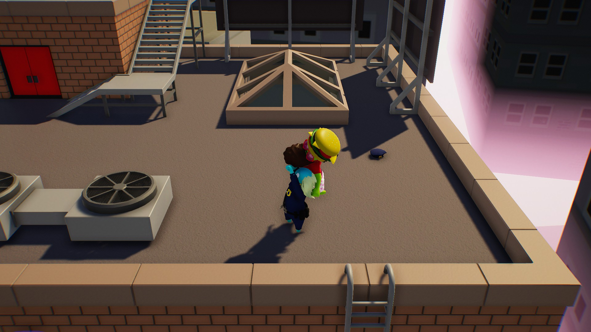 In Gang Beasts, there are no realistic visuals common for the fighting games. The effects are minimalistic, the animations are simple, and the overall atmosphere reminds some kind of a cartoon you have somehow immersed in.